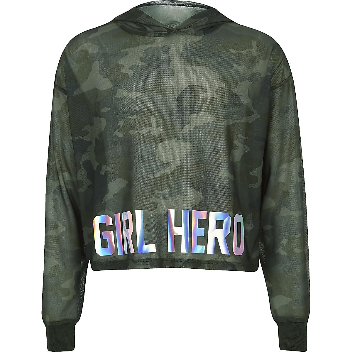 71afb49c3d8 Girls RI Active khaki camo mesh hoodie - Hoodies / Sweatshirts - Tops -  girls