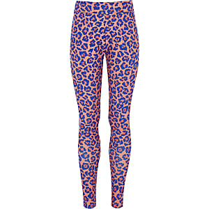 Girls Converse pink leopard print leggings