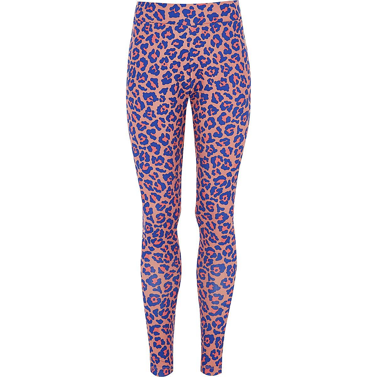 Girls Converse pink leopard print leggings