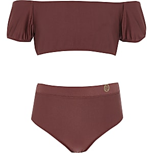 Girls dark red puff sleeve bardot bikini