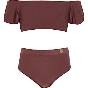 Donkerrode bikini in bardotstijl met pofmouwen voor meisjes