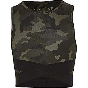 RI Active - Kaki elastische crop top met camouflageprint voor meisjes