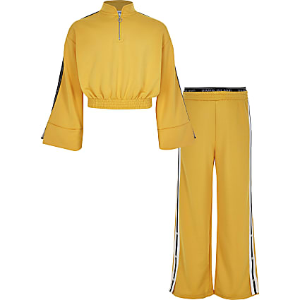 Girls yellow wide sleeve cropped tracksuit