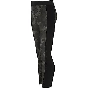 RI Active - Kaki legging met camouflageprint voor meisjes