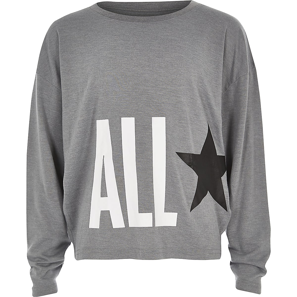 Girls Converse light grey oversized star top