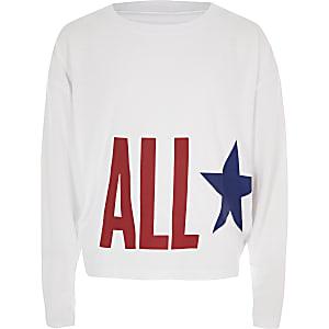 Converse - Witte top met 'All Star'-print voor meisjes