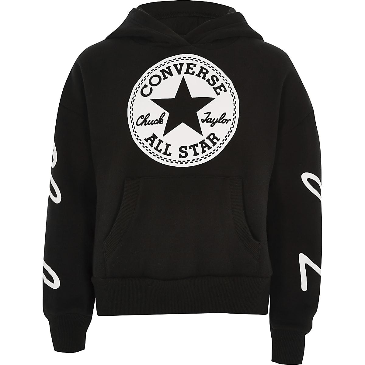 Girls Converse black cropped hoodie
