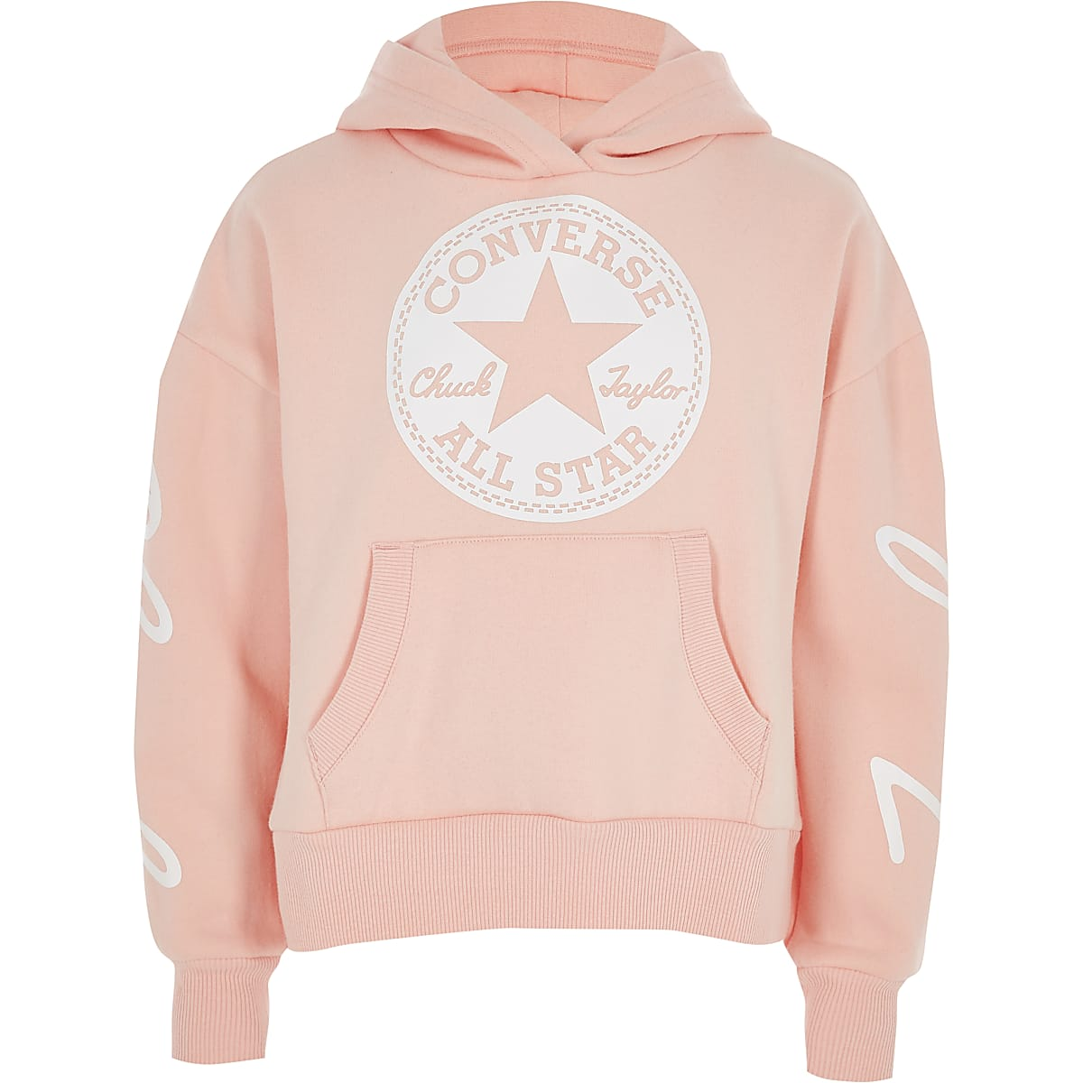 964c9d952d5d Girls Converse pink cropped hoodie Girls Converse pink cropped hoodie ...
