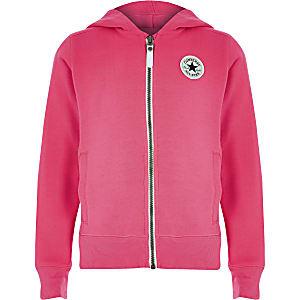 Girls Converse pink zip up tracksuit hoodie