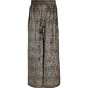 Girls grey check velvet wide leg pants