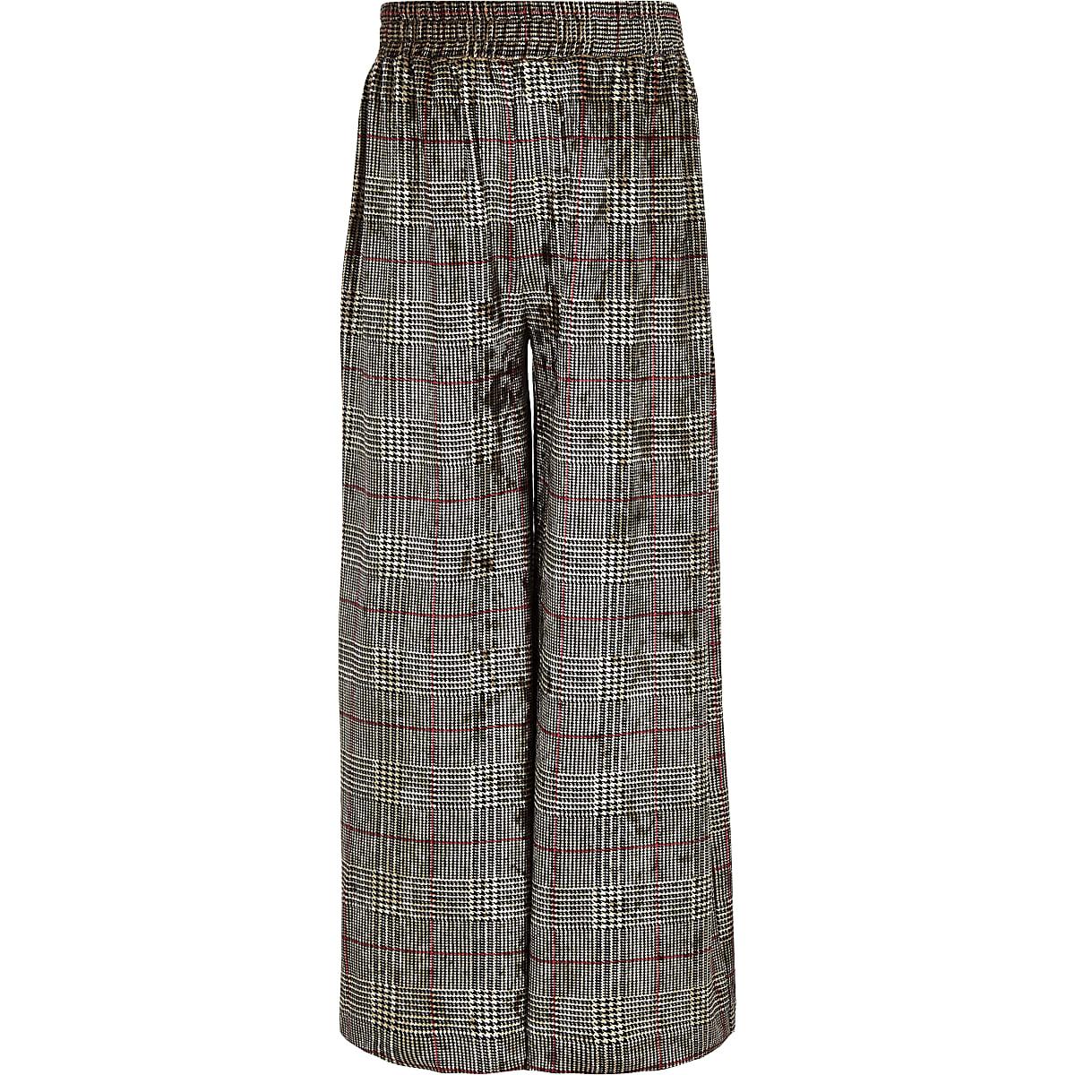 Girls grey check velvet wide leg pants