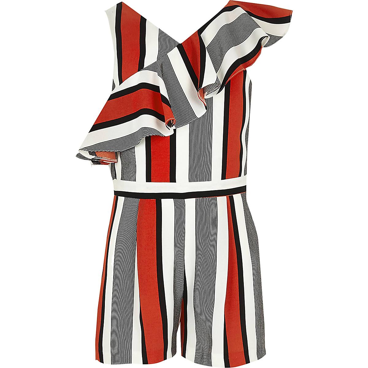Girls red stripe frill romper