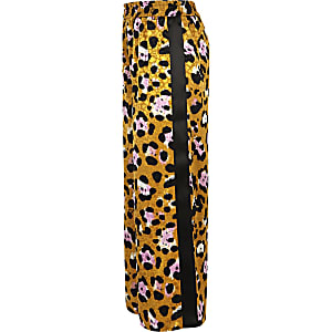 Girls brown leopard print tape side trousers