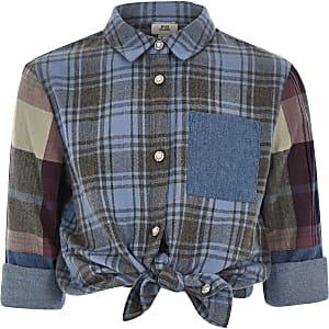 Girls blue check diamante button shirt