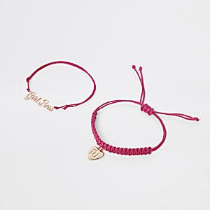Girls pink gold tone friendship bracelet