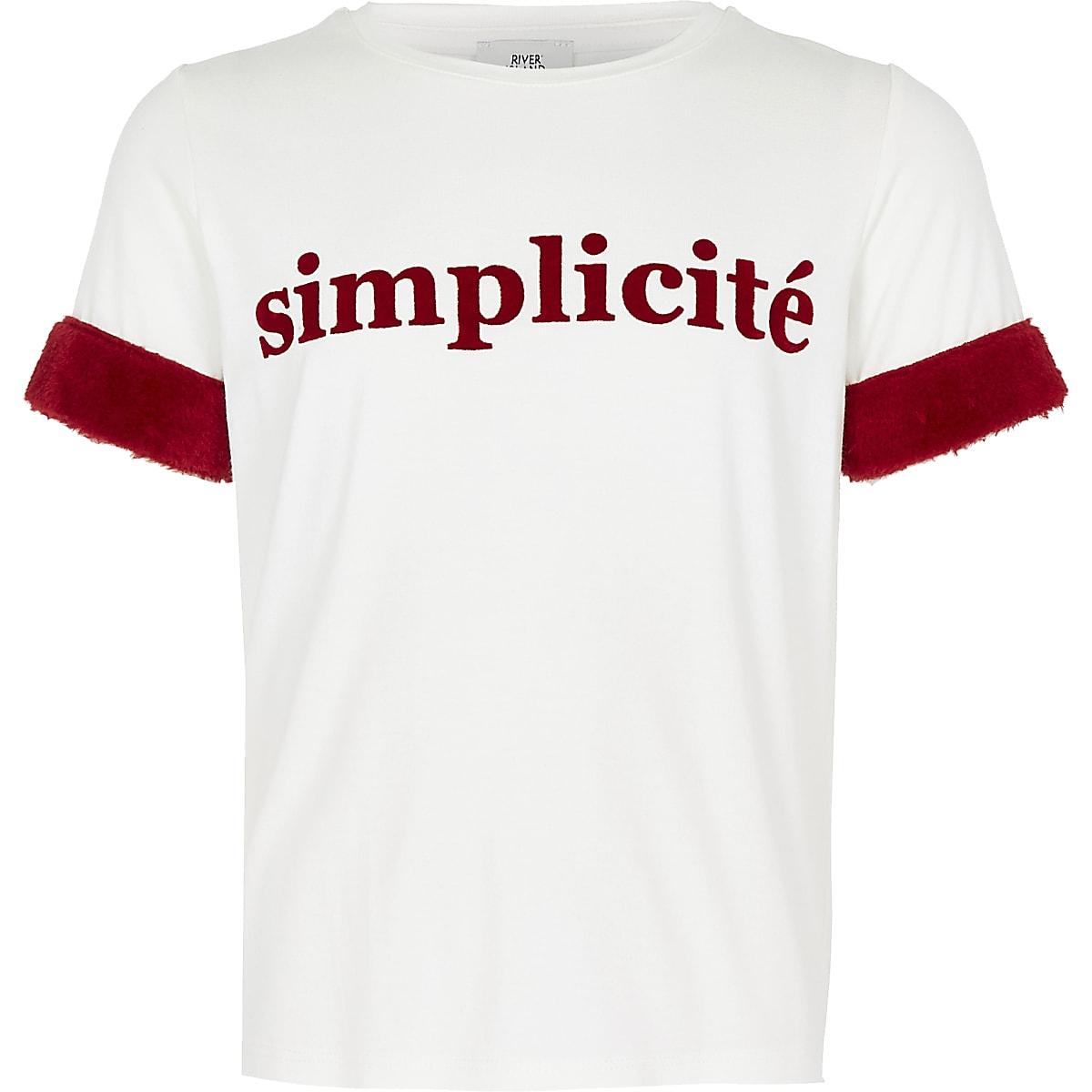 Girls cream 'Simplicite' T-shirt