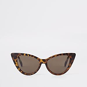 Bruine cat-eye-zonnebril met schildpaddenmotief voor meisjes