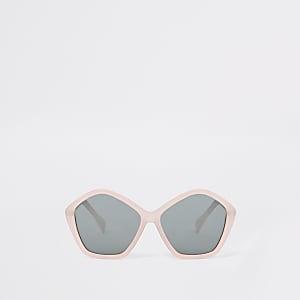Roze zeskantige zonnebril met glitter voor meisjes