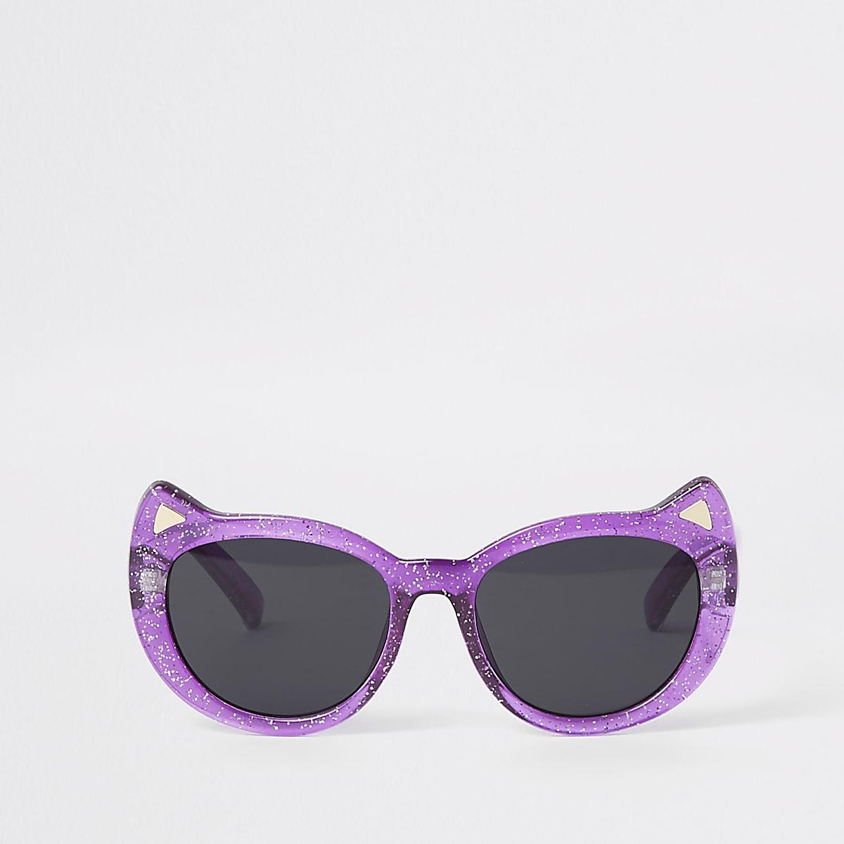 Mini girls purple glitter cat eye sunglasses