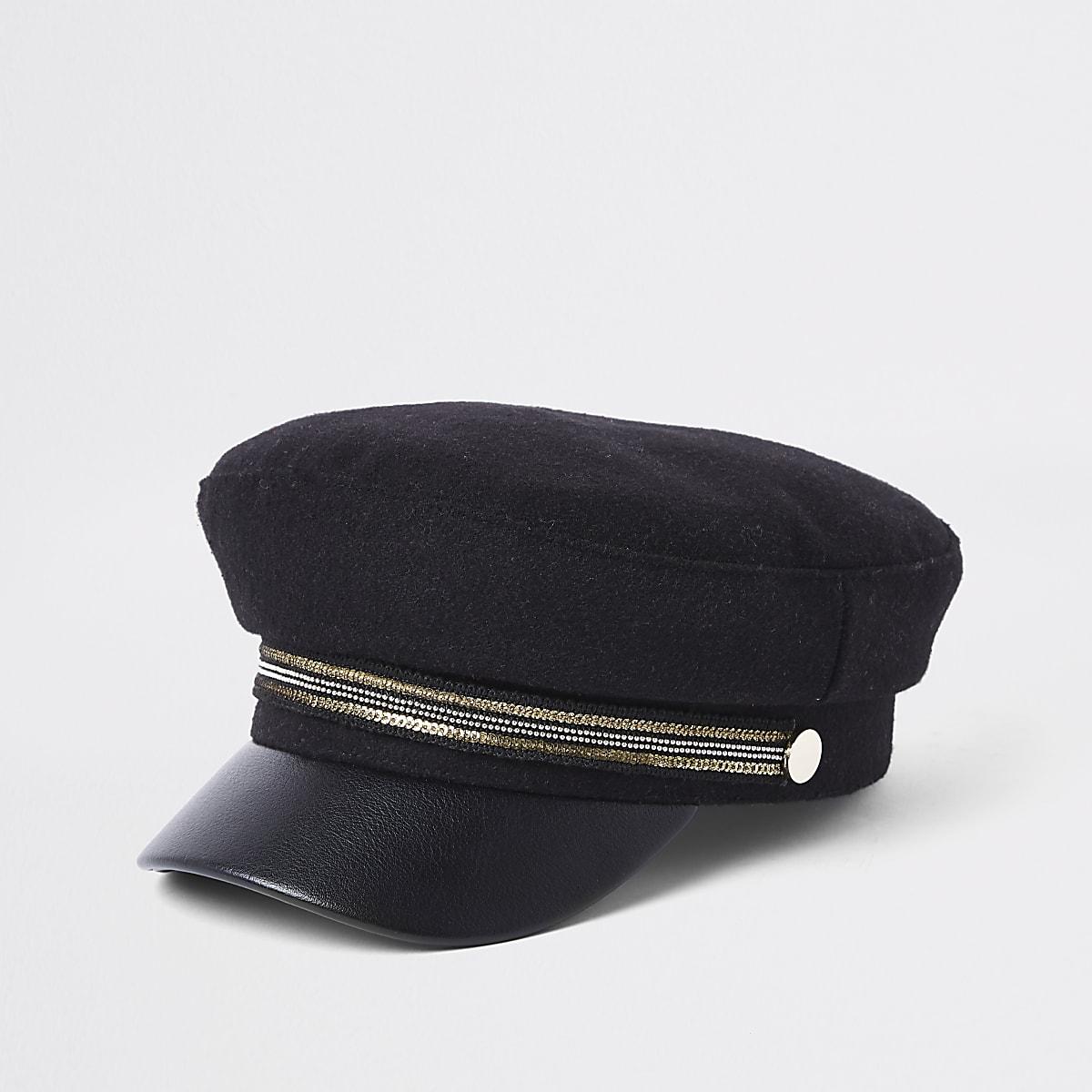 Mini girls black tape bakers boy hat