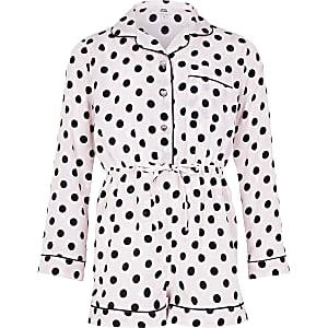 Combi-short pyjama à pois rose pour fille