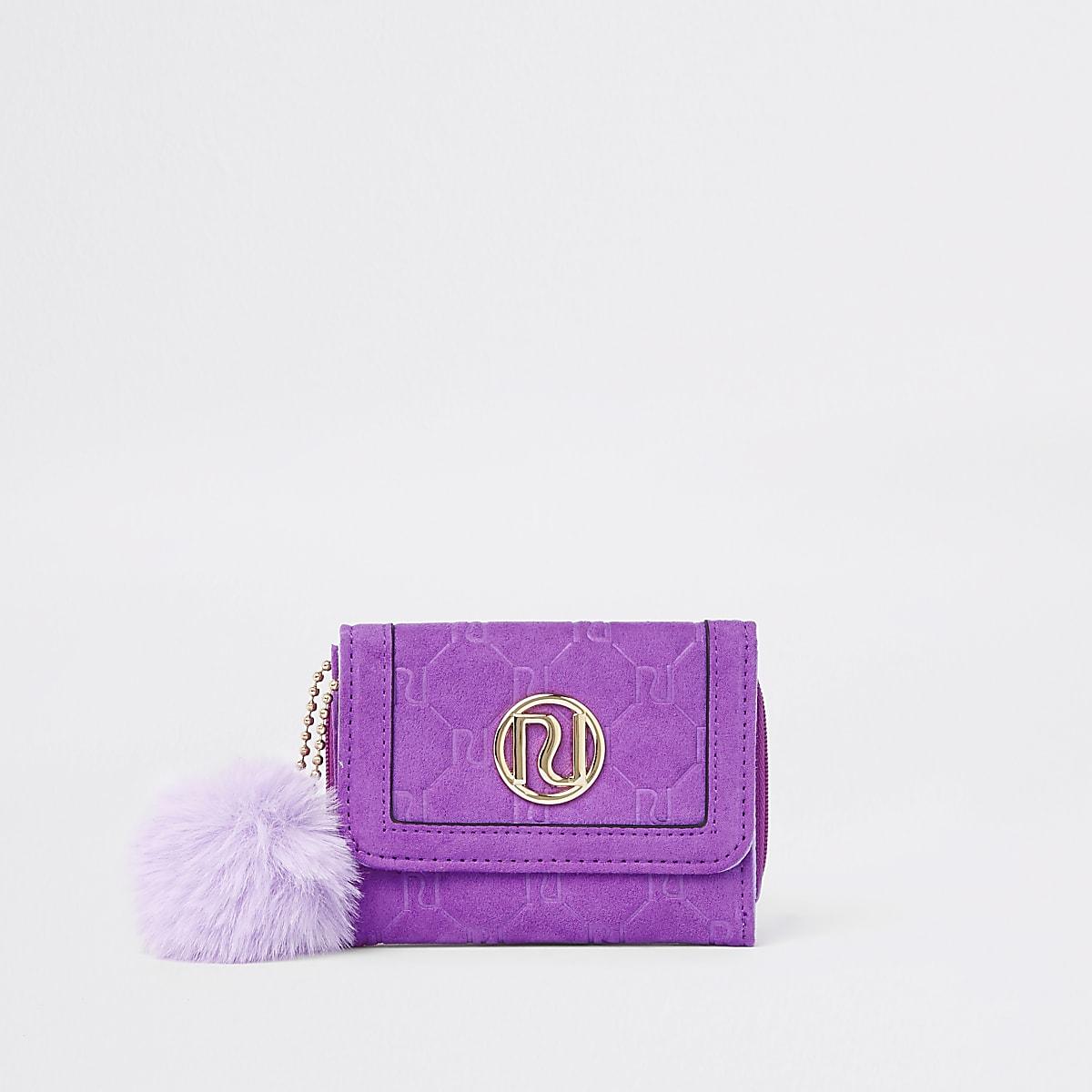 Girls purple faux fur pom pom trifold purse