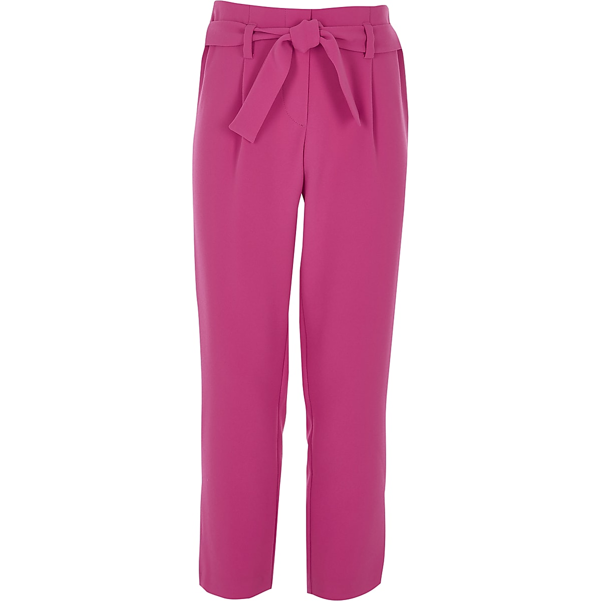 Girls pink tie front trousers