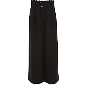 Girls black paperbag waist wide leg trousers