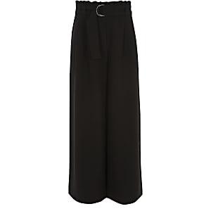 Pantalon large noir taille haute ceinturée pour fille