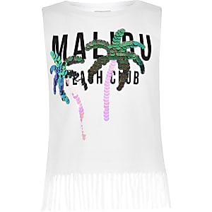 Girls white 'Malibu' sequin tassel tank top