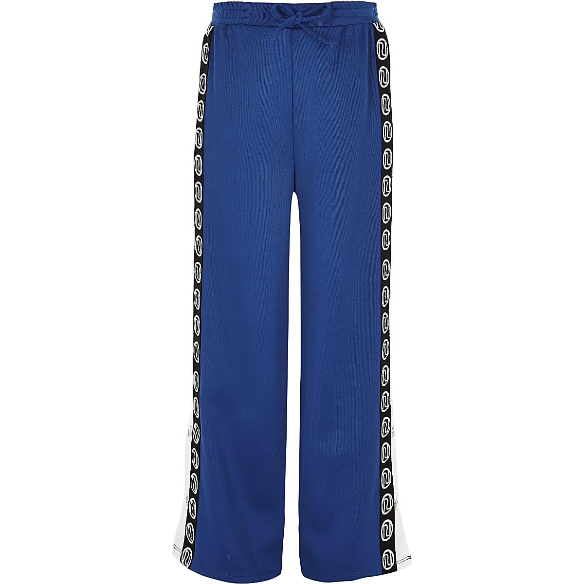 Girls blue RI popper side pants