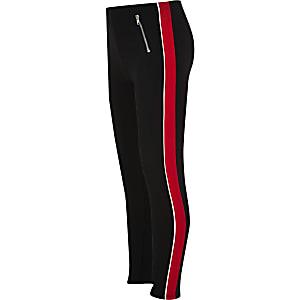 Girls black panel side leggings
