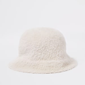 Girls pink fluffy bucket hat
