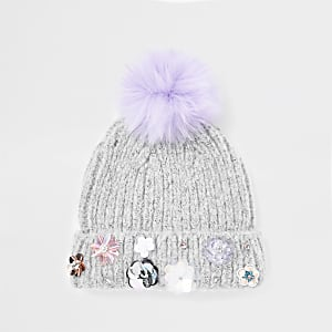 Girls grey embellished faux fur beanie hat