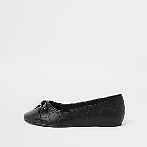 Girls black RI monogram pump shoes