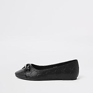 Chaussures noires avec monogramme RI pour fille