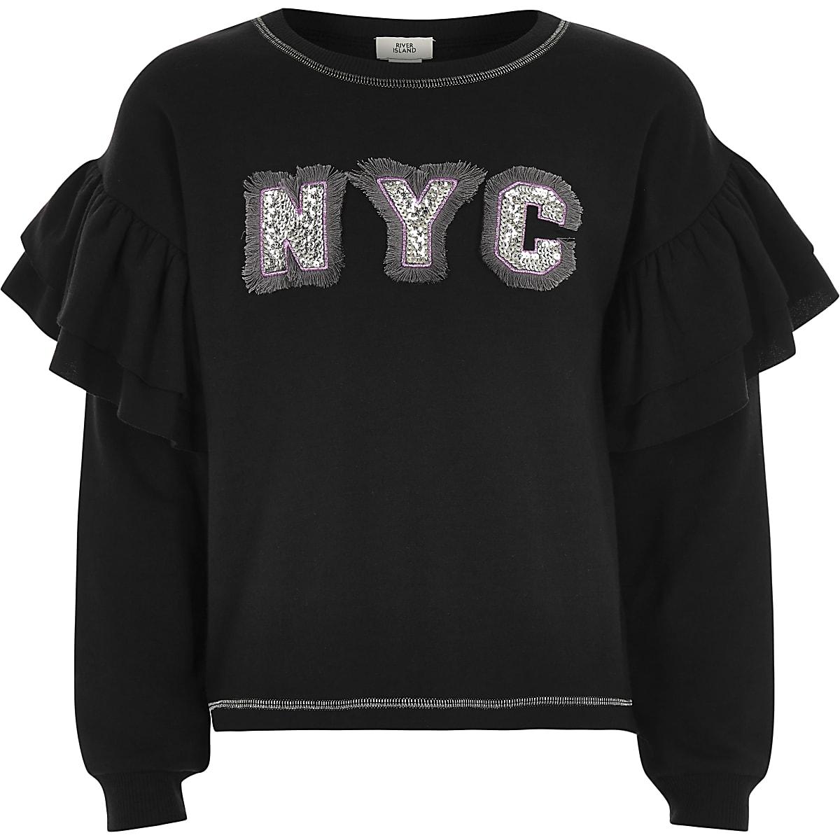 Girls black 'NYC' frill sleeve sweatshirt