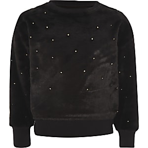 Girls black faux fur pearl embellished jumper