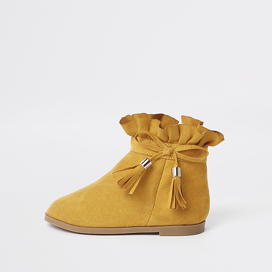 Mini girls yellow paperbag bow detail boots