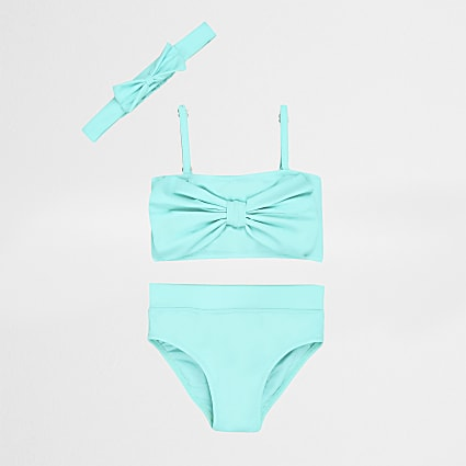 Mini girls aqua bow front tankini set