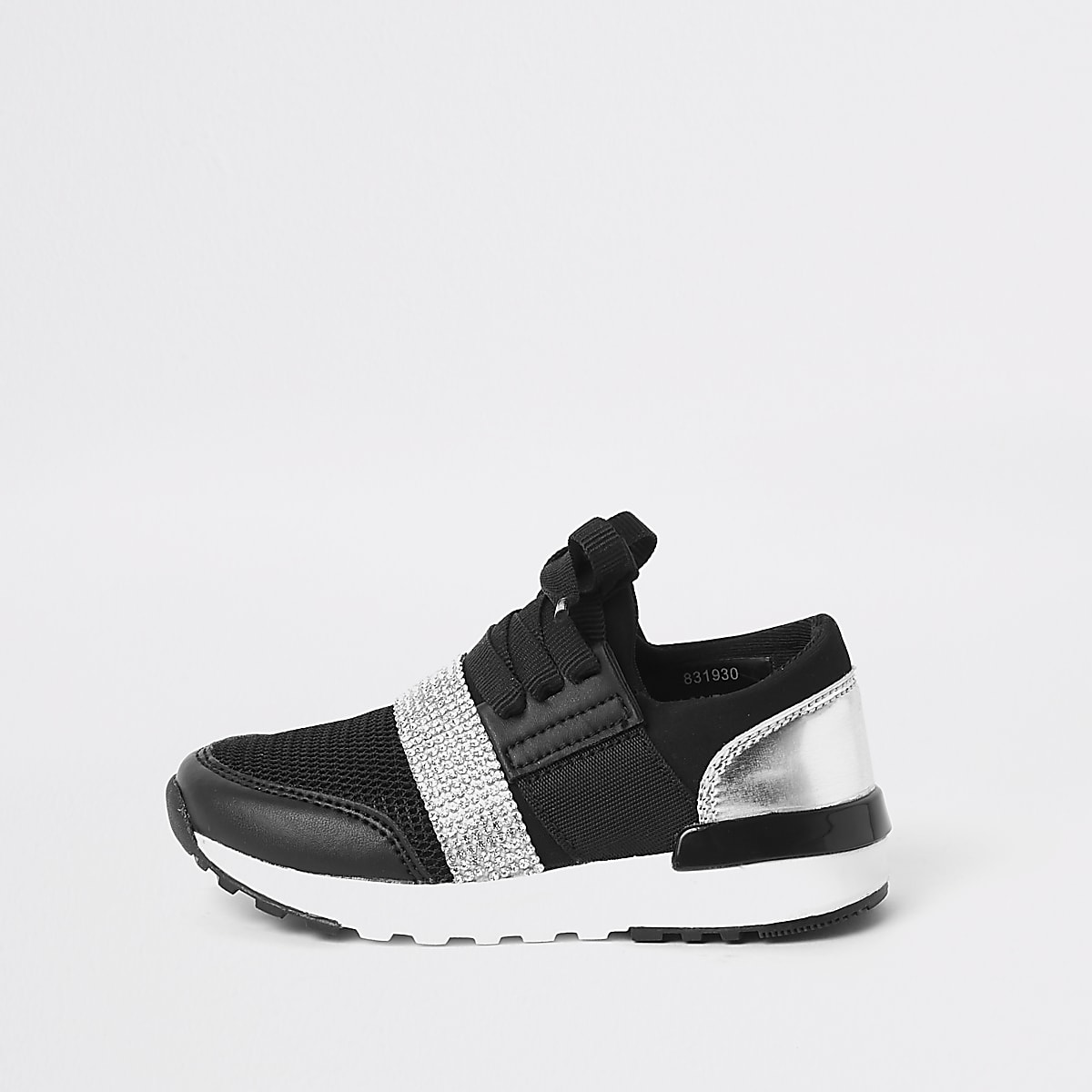 Mini girls black gem strap runner trainers