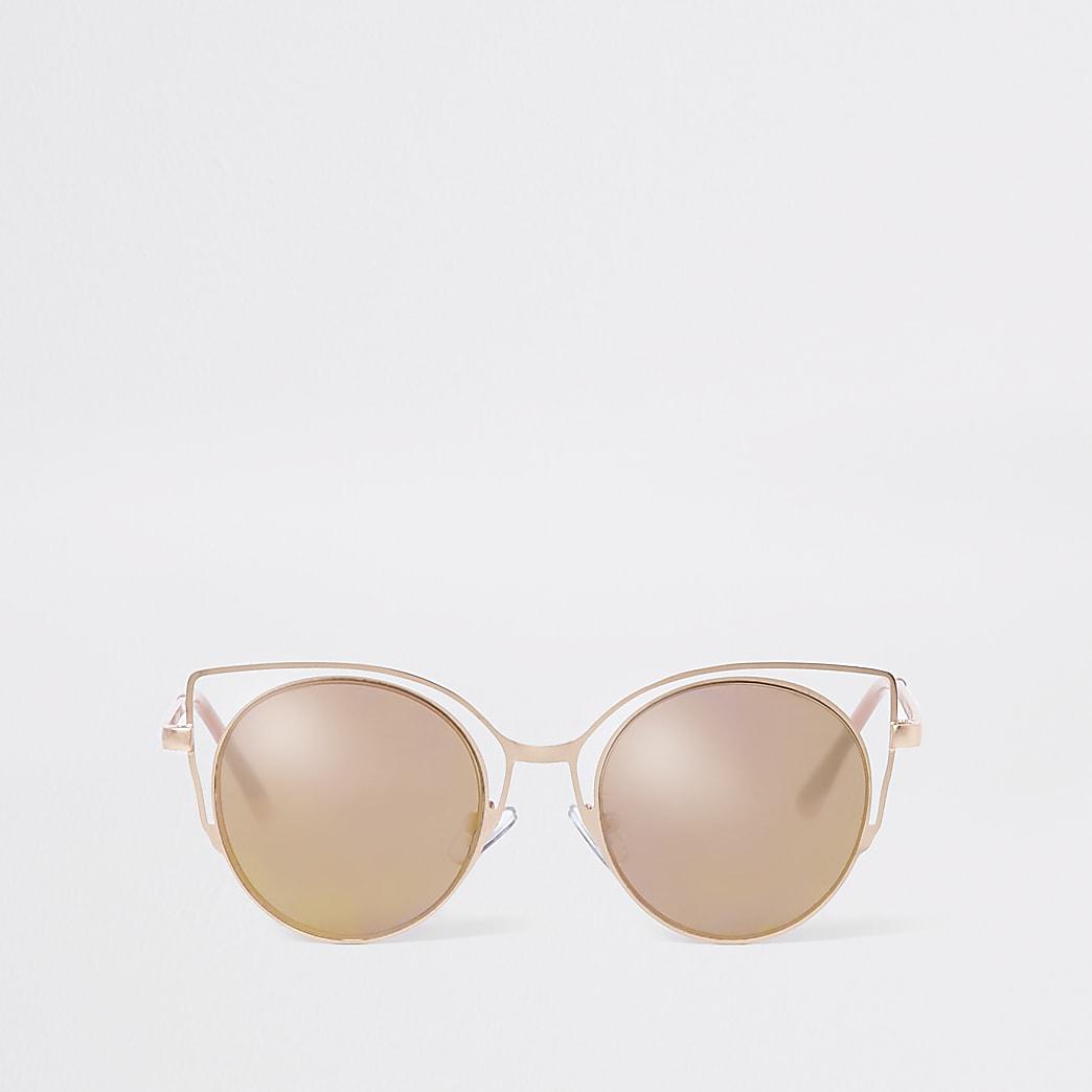 Roségoudkleurige cat-eye-zonnebril voor meisjes