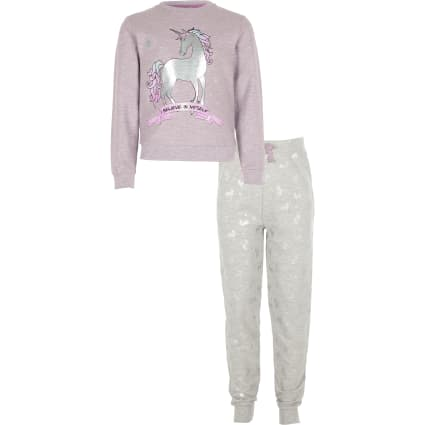 Girls purple unicorn pyjama set