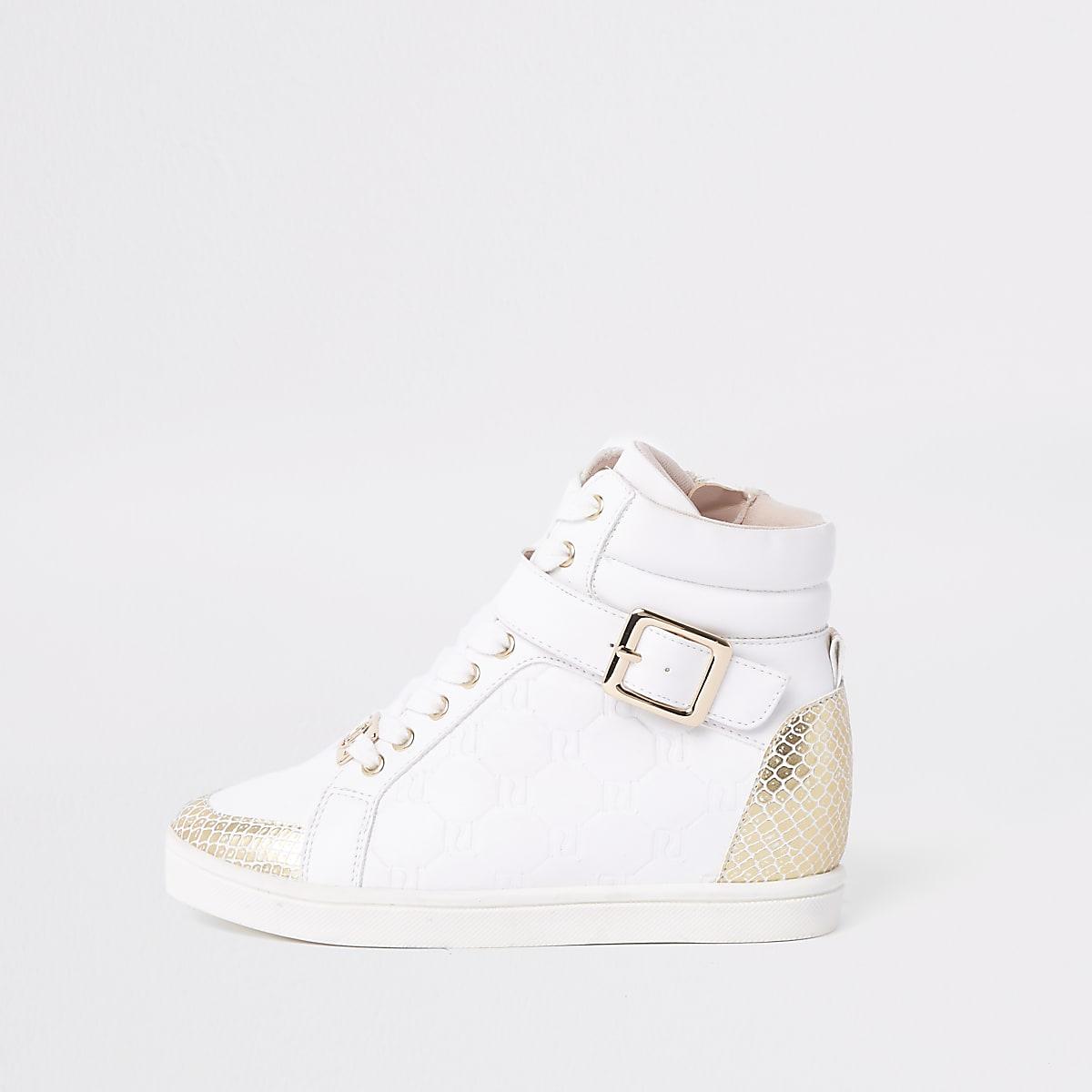 59719952592 Witte hoge sneakers met RI-monogram voor meisjes - Sneakers ...