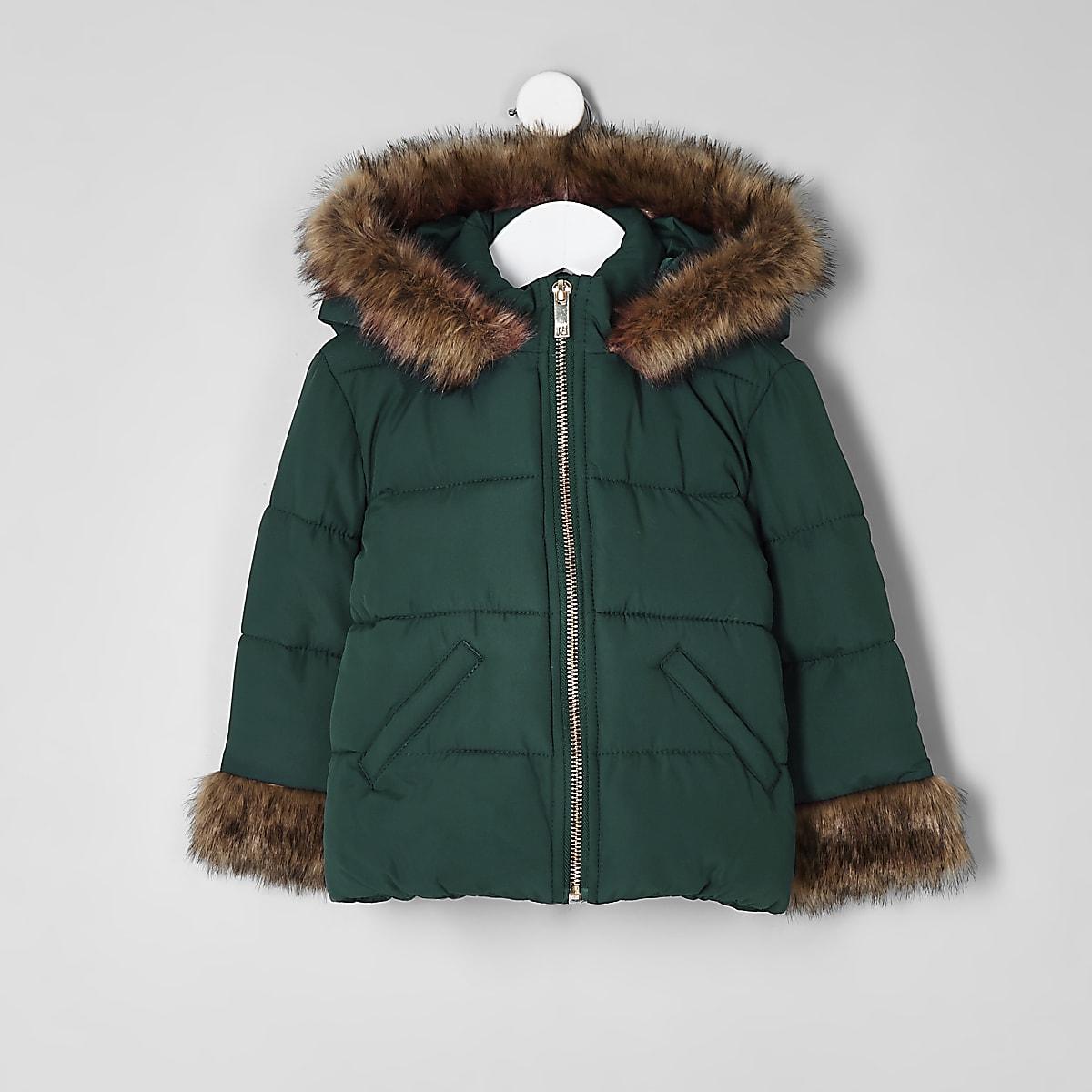 Mini girls green faux fur padded coat