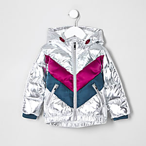 Mini girls silver chevron hooded puffer coat