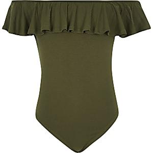 Girls khaki frill bardot bodysuit