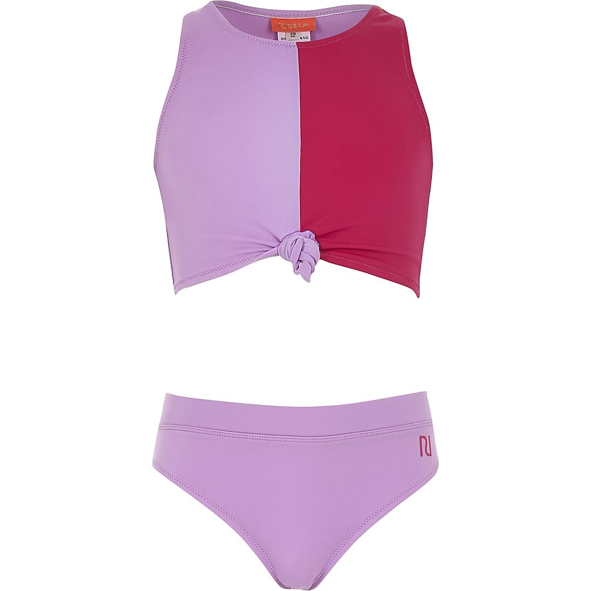 Girls purple block print knot bikini set