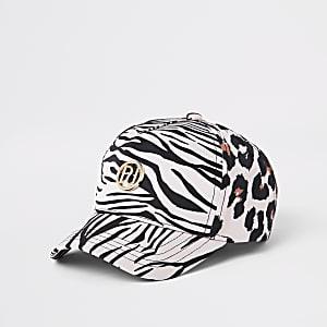 Mini - Bruine baseballpet met luidpaardprint voor meisjes