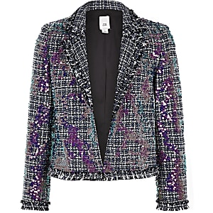 Girls blue boucle sequin blazer